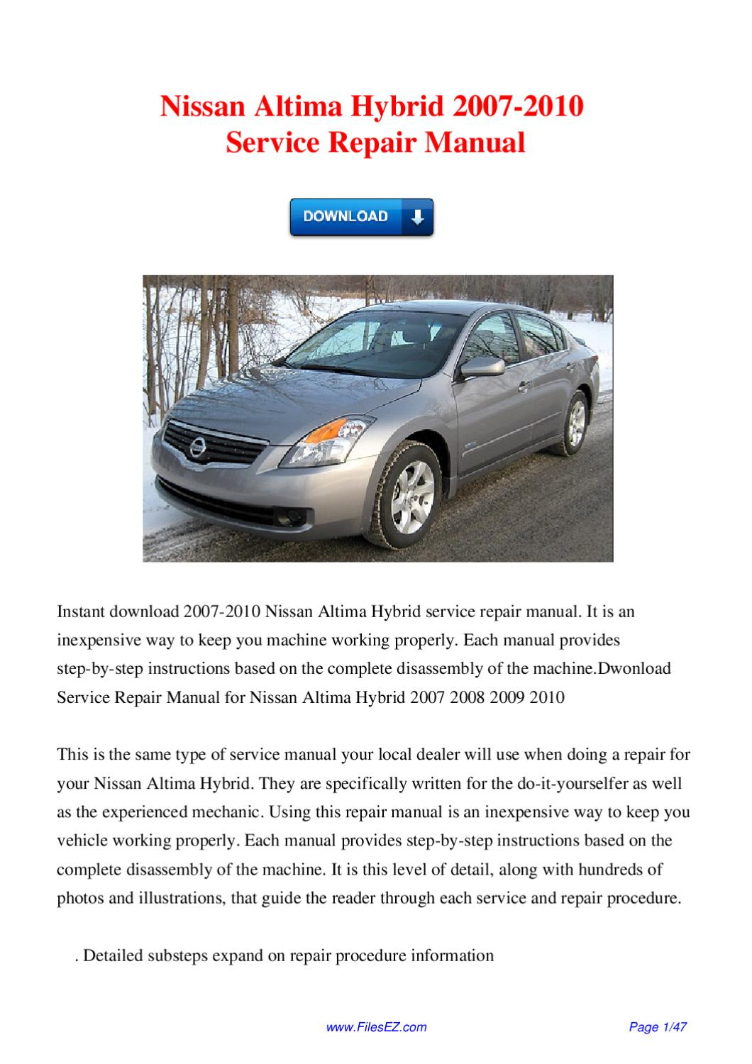 2010 nissan altima hybrid owners manual
